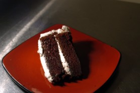 Devil's food cake -- a delicious concoction of sugar, flour and chocolate.
